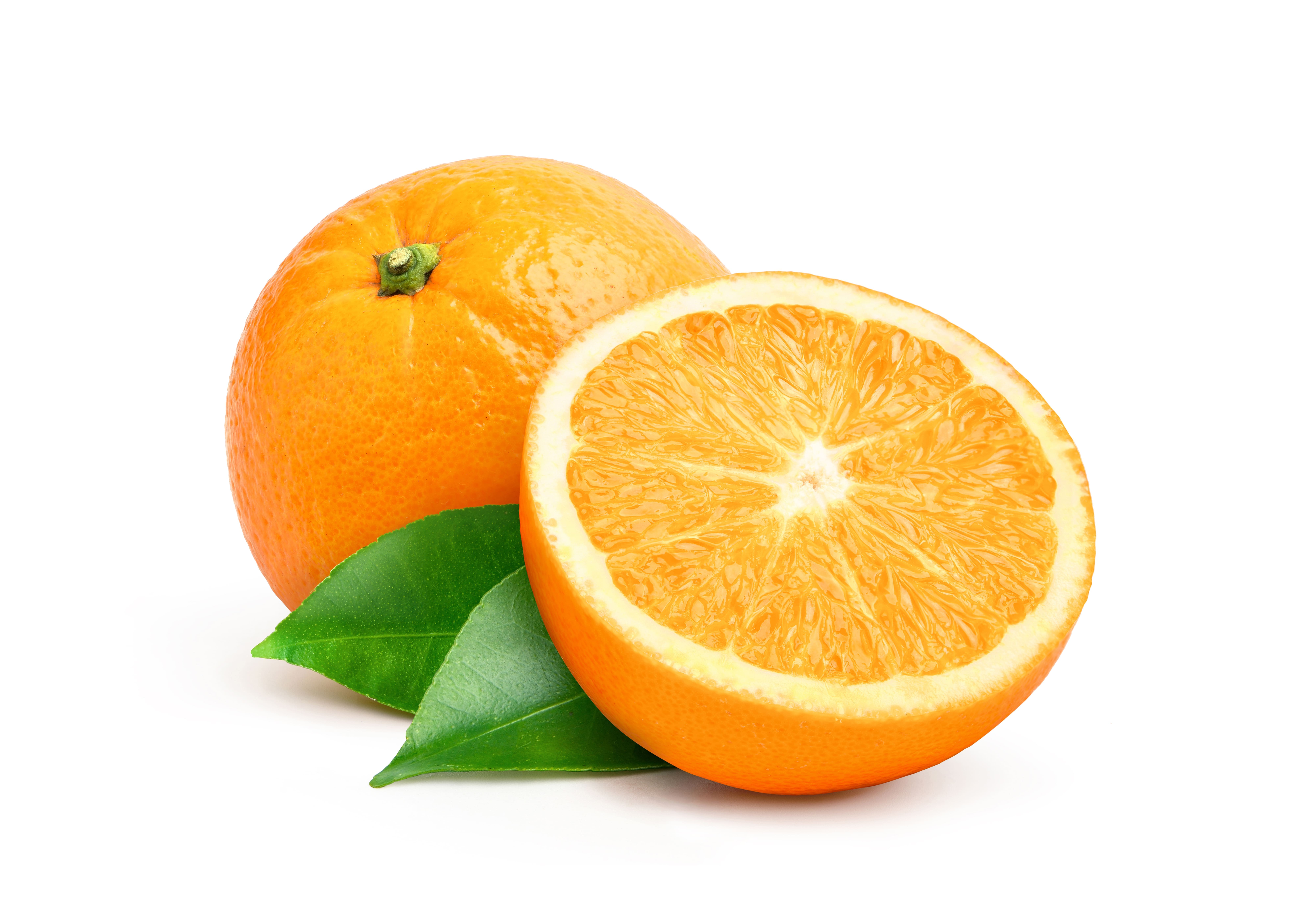 natural valecia orange fruit with cut in half and green leaves isolated on white background 1 1 1
